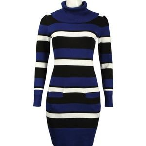 Contrast Stripe Knit Dress(L57120/ROYAL BLACK)